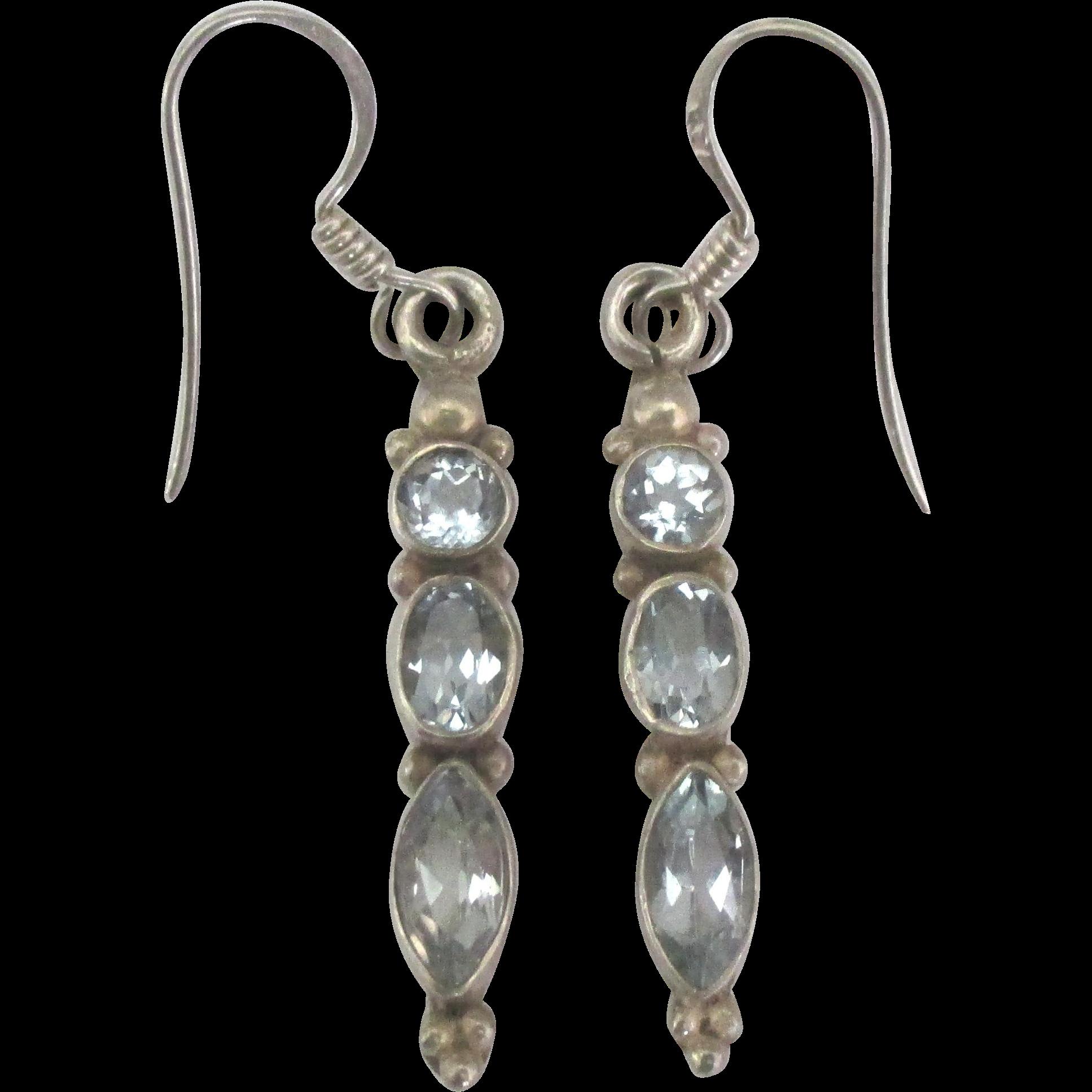 Vintage Sterling Blue Topaz Dangle Pierced Earrings