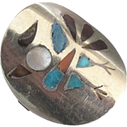 Vintage Inlaid Sterling Navajo Thunderbird Ring