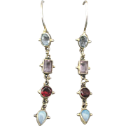 Lovely Sterling Gemstones Dangle Pierced Earrings