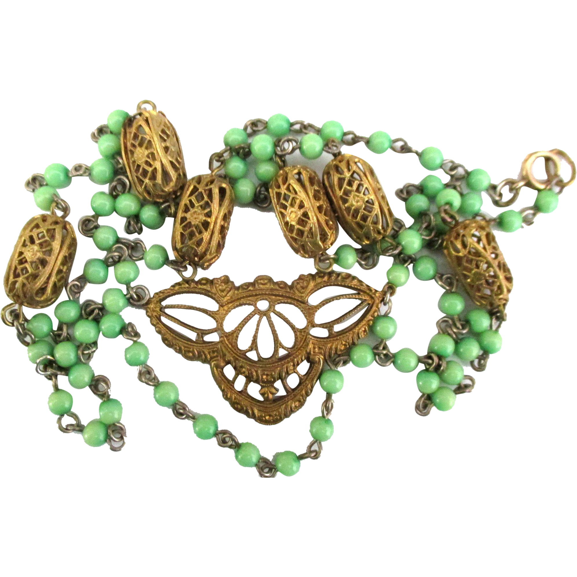 Vintage Filigree Brass with Green Glass Bead Festoon Necklace