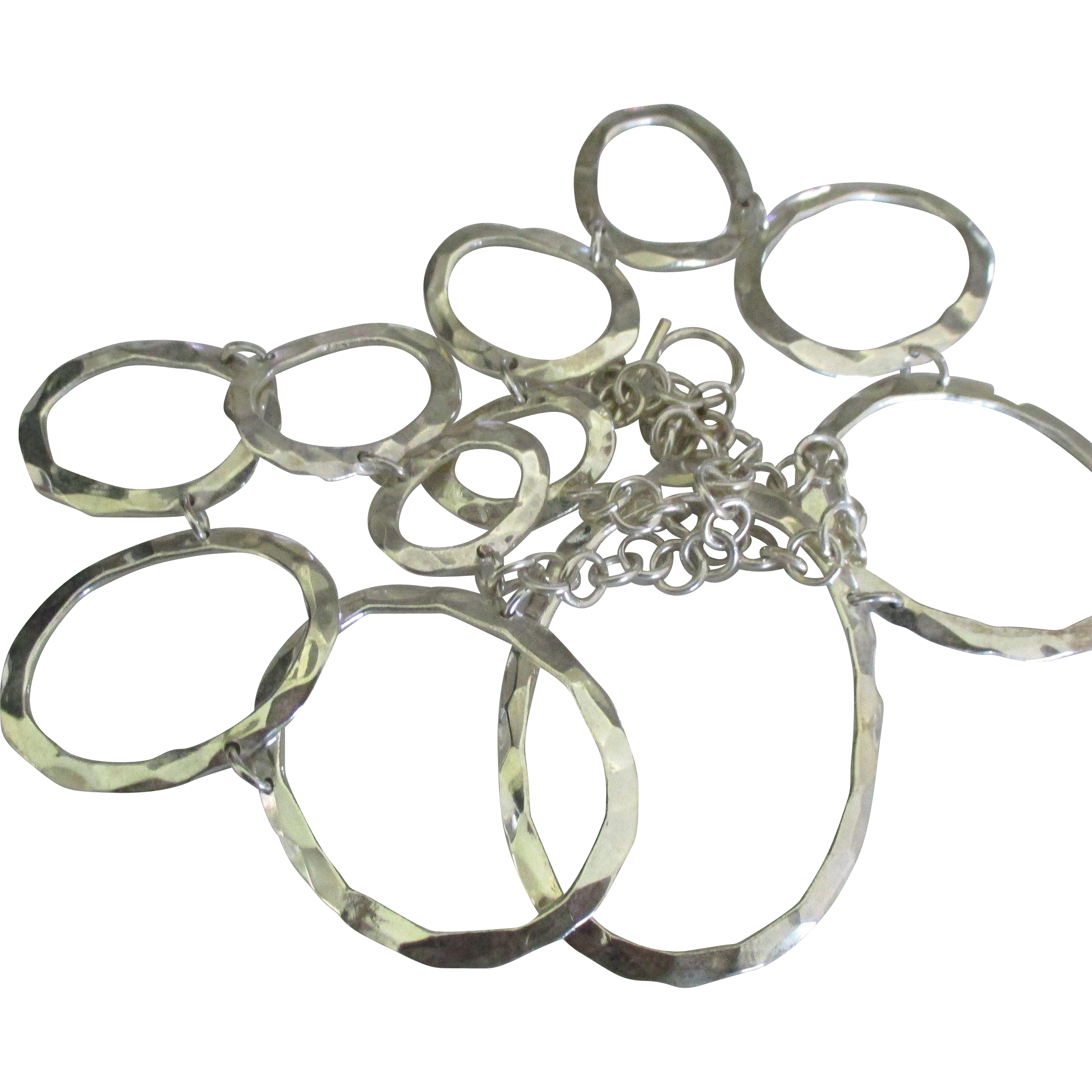 Spectacular Sterling Hammered Graduated Necklace- 117 Grams!