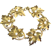 Lovely Vintage 12K GF Pearl Leaves Bracelet