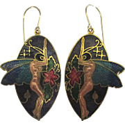 Fabulous Cloisonne Winged Nymph Pierced Earrings