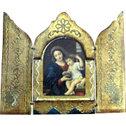 Beautiful Vintage Italian Wooden Religious Triptych