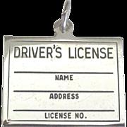 Vintage Sterling Driver's License Charm