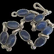 Vintage Sterling Lapis Lazuli Link Bracelet