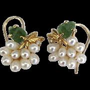 Vintage Faux Pearl Jade Rhinestone Pierced Earrings