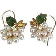 Vintage Faux Pearl Jade Rhinestone Pierced Earrings
