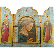 Vintage Italian Wooden St. Mary with Angels Triptych