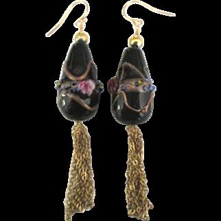 Vintage Murano Wedding Cake Bead Pierced Earrings with Tassels