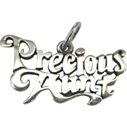 Vintage Sterling Precious Aunt Charm
