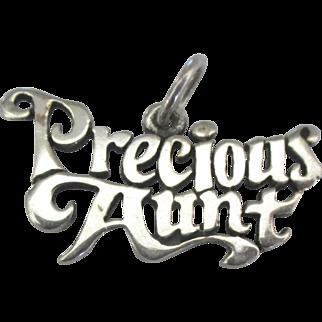 Vintage Sterling Precious Aunt Charm
