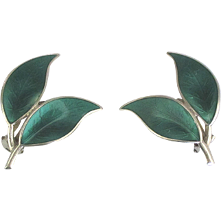 Signed David Anderson Norway Sterling Guilloche Earrings