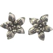Lovely Taxco Sterling Flower Pierced Earrings