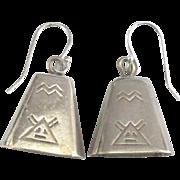 Vintage Navajo Sterling Bell Pierced Earrings