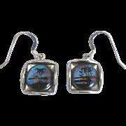 Vintage Morpho Butterfly Reverse Painted Pierced Earrings