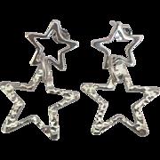 Hammered Sterling Open Star Dangle Pierced Earrings