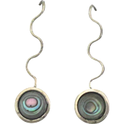 Lovely Modernist Sterling Abalone Pierced Earrings