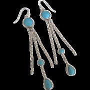 Long Sterling Turquoise Dangle Pierced Earrings
