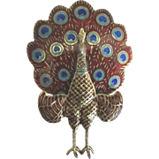 1940's Enamel Sterling Siam Peacock Hinged Brooch