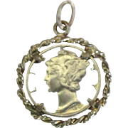 Vintage 1941 Cut Out Liberty Dime Pendant