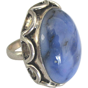 Large Blue Agate Sterling Ring- Size 6 1/2