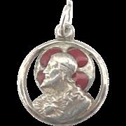 Vintage Enamel Sterling Christ Medal or Charm