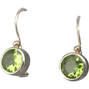Lovely Sterling Peridot Pierced Earrings