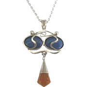 Gorgeous Estate Sterling Lapis Citrine Dangle Pendant and Chain
