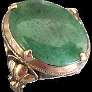 Edwardian 14K YG Jade 8.3 Gram Ring- Size 7