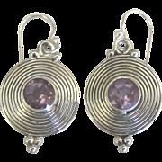 Modernist Sterling Amethyst Pierced Earrings