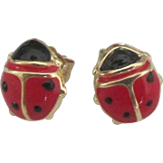 Adorable 14K Enamel Lady Bug Pierced Earrings