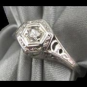 Art Deco 18K Cutwork Diamond WG Ring- Size 7 1/8