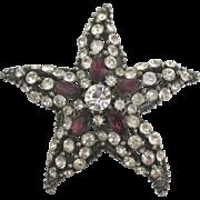 Signed Vintage Rhinestone Starfish Brooch