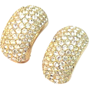 Vintage Dior Pave Rhinestone Earrings