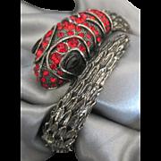 Bold Vintage Red Rhinestone Snake Clamper Bracelet