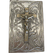 Vintage Crucifix Easel Back Stamped Metal Religious Icon