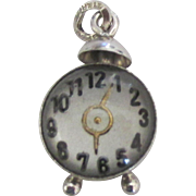 Rare Beau Sterling Bubble Glass Alarm Clock Charm