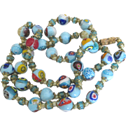 Vintage Italian Blue Murano Art Glass Necklace