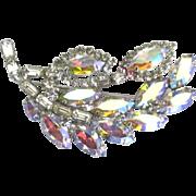 Sparkling Vintage Weiss AB Rhinestone Leaf Brooch