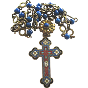 Vintage French Champleve Enamel Cross with Beaded Chain