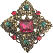 Lovely Vintage Czech Glass Filigree Brooch