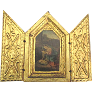 Vintage Italian Wooden St. Mary and Infant Jesus Triptych