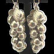 Fabulous Sterling Berries Leaves Dangle Pierced Earrings
