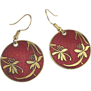 Vintage Red Enamel GP Overlay Leaves Berries Pierced Earrings
