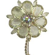 Large D&E Juliana Pale Yellow Rhinestone Flower Brooch