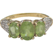 Lovely Vermeil Sterling Peridot Ring- Size 7