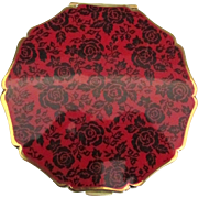 Vintage English Stratton Black Roses Compact