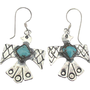 Vintage Sterling Turquoise Thunderbird Pierced Earrings