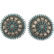 Large Vintage Zuni Sterling Turquoise Needlepoint Pierced Earrings